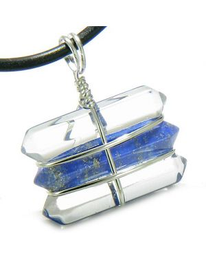 Life Power Silver Triple Lucky Amulet Crystal Point Wands Crystal Quartz Lapis Lazuli Necklace