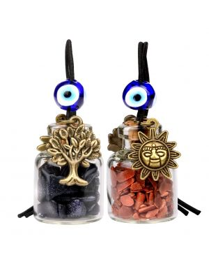 Tree of Life Magic Sun Powers Small Car Charms or Home Decor Bottles Blue Red Goldstone Amulets