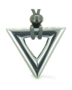 Amulet Triangle Magic Protection Powers Lucky Charm Hematite Arrowhead Courage Pendant Necklace