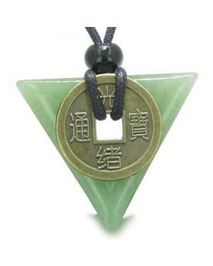 Amulet Triangle Protection Powers Antique Lucky Coin Aventurine Arrowhead Healing Pendant Necklace