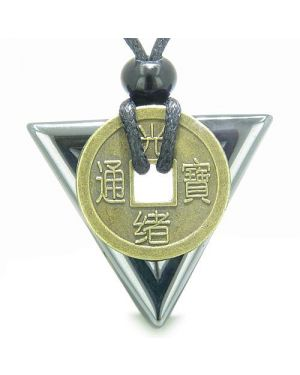 Amulet Triangle Protection Powers Antique Lucky Coin Charm Hematite Arrowhead Gemstone Necklace