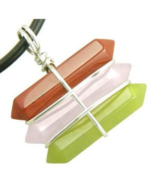 Life Power Silver Triple Lucky Amulet Crystal Point Wands Jasper Rose Quartz Green Jade Necklace