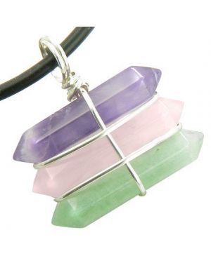 Life Power Silver Triple Lucky Amulet Crystal Point Wands Amethyst Rose Quartz Aventurine Necklace