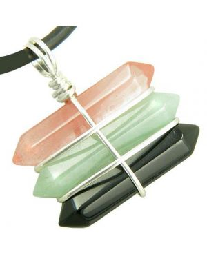 Life Power Silver Triple Lucky Amulet Crystal Point Wands Cherry Quartz Aventurine Onyx Necklace