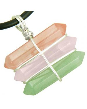 Life Power Silver Triple Lucky Amulet Crystal Point Wands Cherry Rose Quartz Aventurine Necklace