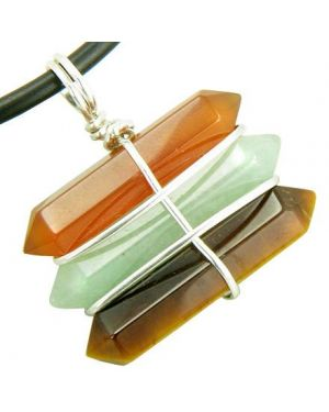 Life Power Silver Triple Lucky Amulet Crystal Point Wands Carnelian Aventurine Tiger Eye Necklace