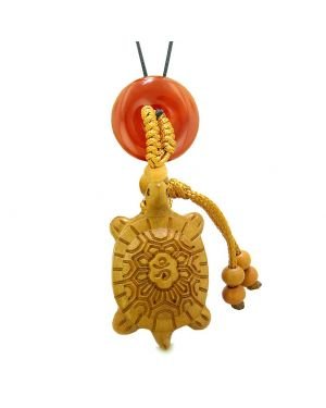 Good Luck Turtle Cute Car Charm or Home Decor Carnelian Lucky Coin Donut Protection Powers Magic Amulet