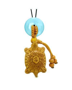 Good Luck Turtle Cute Car Charm or Home Decor Blue Simulated Cats Eye Lucky Coin Donut Protection Amulet