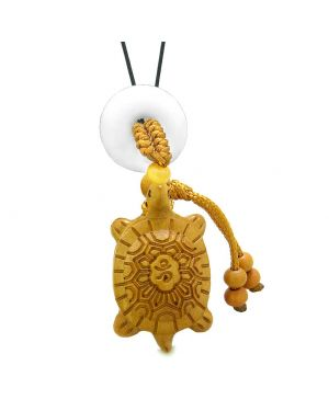 Good Luck Turtle Cute Car Charm or Home Decor White Quartz Lucky Coin Donut Protection Power Magic Amulet
