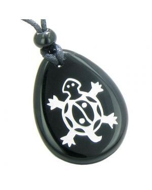 Lucky Turtle Magic Yin Yang Spiritual Powers Amulet Black Onyx Totem Gemstone Pendant Necklace