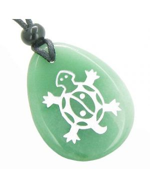 Lucky Turtle Magic Yin Yang Good Luck Powers Amulet Green Aventurine Totem Pendant Necklace