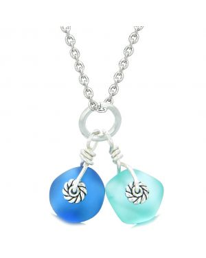 Twisted Twincies Cute Frosted Sea Glass Lucky Charms Aqua and Ocean Blue Amulets 18 Inch Necklace