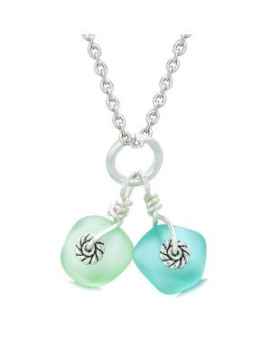 Twisted Twincies Cute Frosted Sea Glass Lucky Charms Aqua Blue Mint Green Amulets 18 Inch Necklace