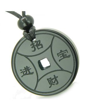 Amulet Magic Lucky Coin Fortune Symbols MedalliOnyx Spiritual Protection Powers Pendant Necklace