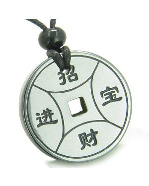 Amulet Magic Lucky Coin Fortune Symbols Medallion Hematite Good Luck Protection Pendant Necklace