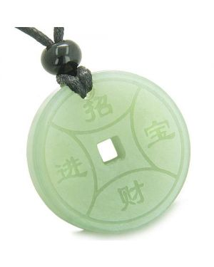 Amulet Magic Lucky Coin Fortune Symbols MedalliNew Green Jade Good Luck Powers Pendant Necklace