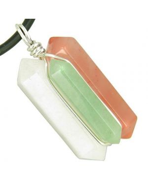 Universe Positive Energy Amulet Silver Triple Lucky Point Jade Aventurine Cherry Quartz Necklace