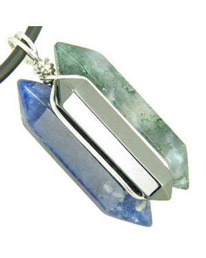 Universe Positive Energy Amulet Silver Triple Lucky Point Sodalite Hematite Moss Agate Necklace
