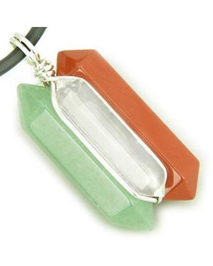 Universe Positive Energy Amulet Silver Triple Lucky Point Aventurine Quartz Red Jasper Necklace