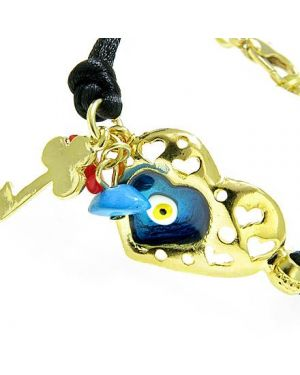 Handcrafted Amulet Evil Eye Protection Heart Blue Enamel Bracelet