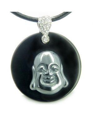 Amulet Happy Laughing Buddha Medalliin Black Onyx Hematite Gemstones Magic Pendant Necklace