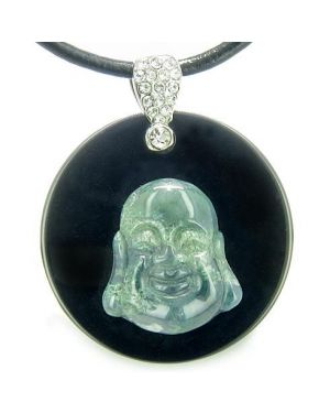 Amulet Happy Laughing Buddha Medalliin Black Onyx Green Moss Agate Magic Powers Pendant Necklace