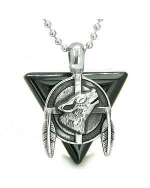 Amulet Arrowhead Howling Wolf Trinity Dreamcatcher Triangle Protection Onyx Pendant Necklace