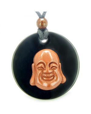 Amulet Happy Laughing Buddha Medallion in Black Onyx Red Jasper Magic Powers Pendant Necklace