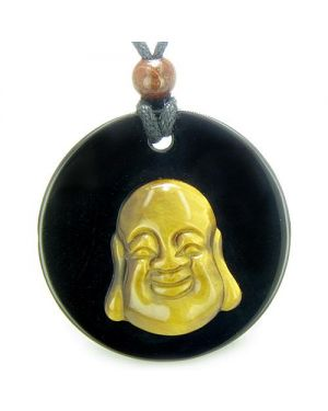 Amulet Happy Laughing Buddha Medallion in Black Onyx Tiger Eye Magic Powers Pendant Necklace