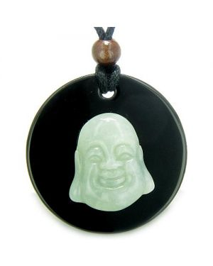 Amulet Happy Laughing Buddha Medalliin Black Onyx Green Jade Magic Pendant Necklace