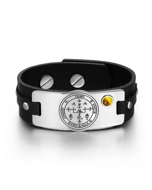 Archangel Uriel Sigil Magic Powers Amulet Tag Tiger Eye Gemstone Adjustable Black Leather Bracelet