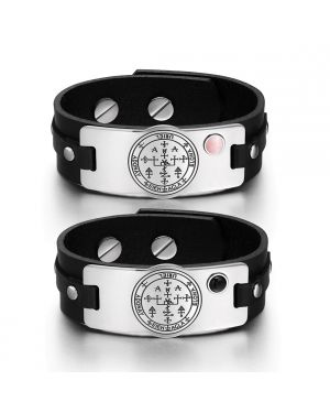 Archangel Uriel Sigil Love Couples Pink Simulated Cats Eye Simulated Onyx Black Leather Bracelets