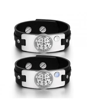 Archangel Uriel Sigil Love Couples White Sky Blue Simulated Cats Eye Amulet Black Leather Bracelets