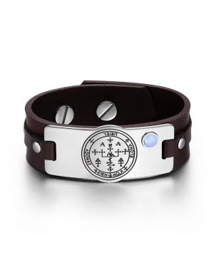 Archangel Uriel Sigil Magic Powers Amulet Blue Simulated Cats Eye Adjustable Brown Leather Bracelet