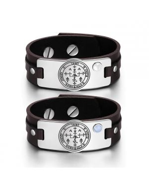 Archangel Uriel Sigil Love Couples White Sky Blue Simulated Cats Eye Amulet Brown Leather Bracelets