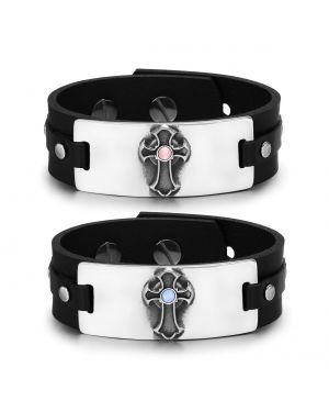 Ancient Celtic Viking Cross Amulets Love Couples Blue Pink Simulated Cats Eye Leather Bracelets