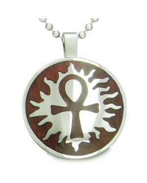 Egyptian Power of Life Sun Energy Spirit Amulet Magic Wood Powers Amulet Circle Pendant Necklace