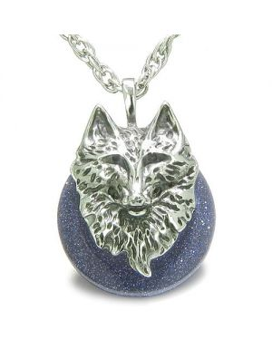 Amulet Wolf Head Courage Protection Powers Lucky Donut Blue Gold Stone Pendant Necklace