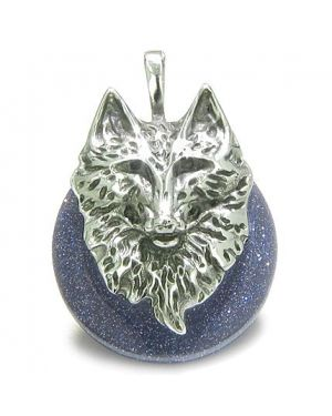 Amulet Wolf Head Courage and Protection Powers Lucky Donut Blue Gold Stone Stainless Steel Pendant
