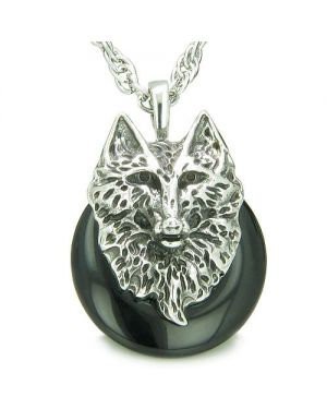 Amulet Wolf Head Courage Protection Powers Lucky Donut Black Onyx Pendant Necklace