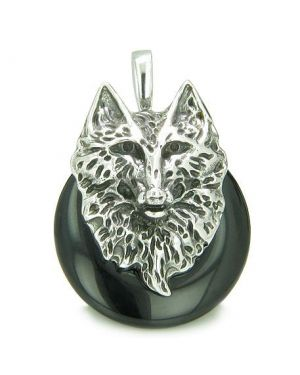 Amulet Wolf Head Courage and Protection Powers Lucky Donut Black Onyx Stainless Steel Pendant