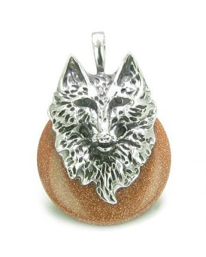 Amulet Wolf Head Courage and Protection Powers Lucky Donut Gold Stone Stainless Steel Pendant