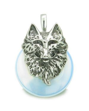 Amulet Wolf Head Courage and Protection Powers Lucky Donut Opalite Stainless Steel Pendant