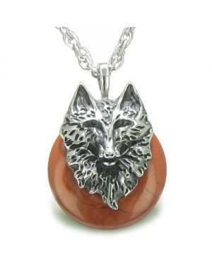 Amulet Wolf Head Courage Protection Powers Lucky Donut Red Jasper Pendant Necklace