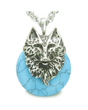 Amulet Wolf Head Courage Protection Powers Lucky Donut Turquoise Pendant Necklace