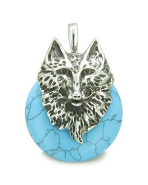 Amulet Wolf Head Courage and Protection Powers Lucky Donut Turquoise Stainless Steel Pendant