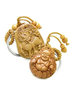 Magic Dragon and Happy Buddha Coins Double Lucky Powers Charms Set Key Chains