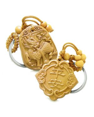 Good Luck Feng Shui Symbols and Magic Dragon Double Lucky Powers Set Key Chains