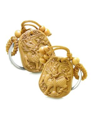 Double Lucky Magic and Courage Dragons Feng Shui Powers Charms Set Key Chains