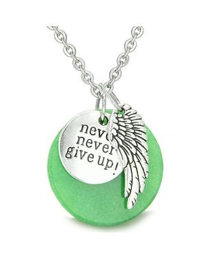Angel Wing Inspirational Never Never Give Up Amulet Medallion Lucky Charm Green Jade Necklace